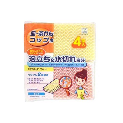 Губка кухонная Kokubo Aero sponge в сеточке 4 шт розовый/желтыйТряпки, щетки, губки<br>