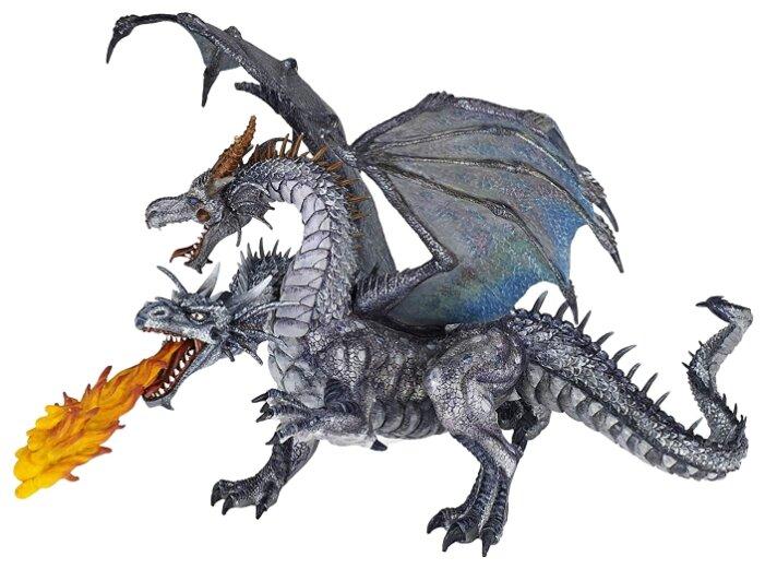 Фигурка Papo Двухголовый серебряный дракон 38998