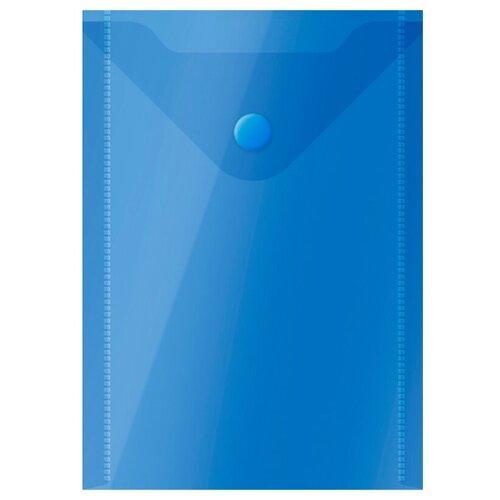 Купить OfficeSpace Папка-конверт на кнопке А6, пластик 150 мкм синий, Файлы и папки