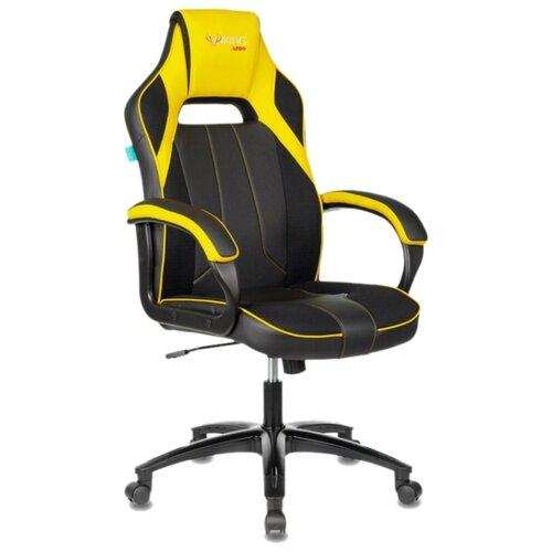 Компьютерное кресло Бюрократ VIKING-2 AERO игровое, обивка: текстиль/искусственная кожа, цвет: черный/желтый цена 2017