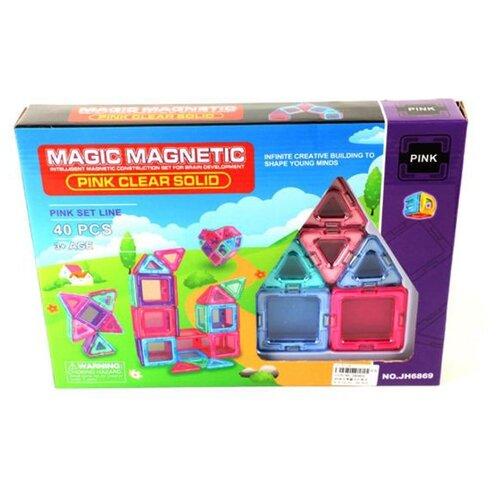Купить Магнитный конструктор Наша игрушка Magic Magnetic Pink JH6869 Pink Clear Solid, Конструкторы