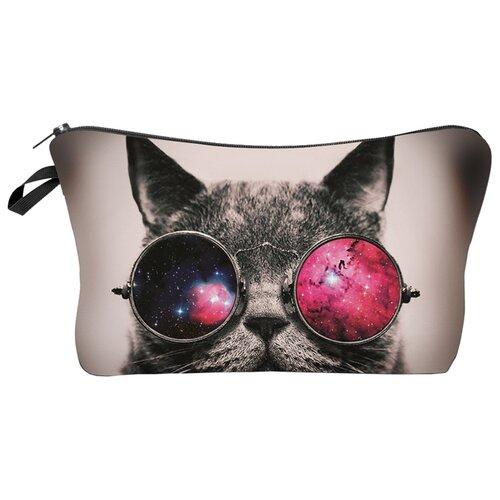 Косметичка HOMSU Cat in glasses, кот/серый косметичка homsu homsu mp002xw0go28