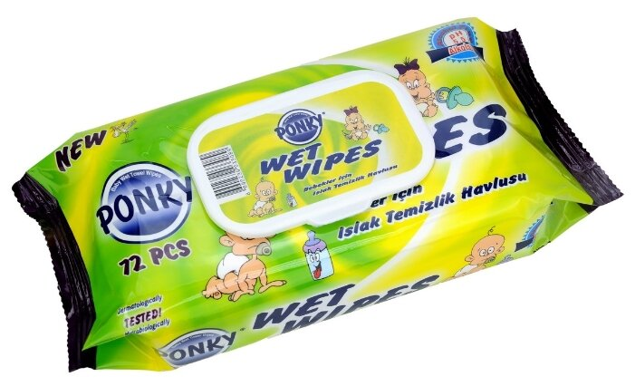 Ponky Детские влажные салфетки, с крышкой 72шт