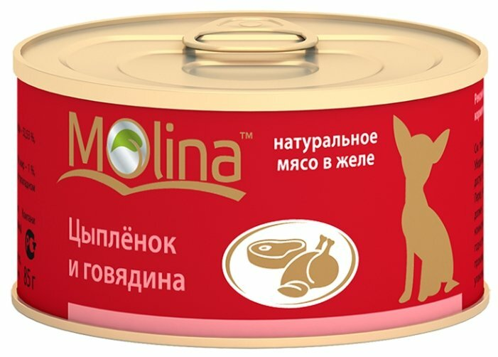 Корм для собак Molina Консервы для собак Цыпленок и говядина (0.085 кг) 1 шт.
