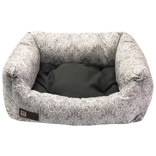 Лежак для собак и кошек Зоогурман Саваж 56х45х16 см серый/голубой