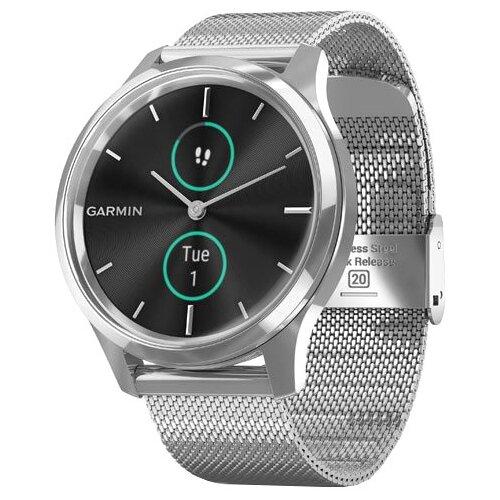 Умные часы Garmin Vivomove Luxe с миланским браслетом, серебристый умные часы garmin vivomove luxe с кожаным ремешком черный золотистый