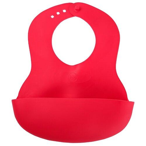 Happy Baby Нагрудник Basic Baby plastic bib, 1 шт., расцветка: ruby