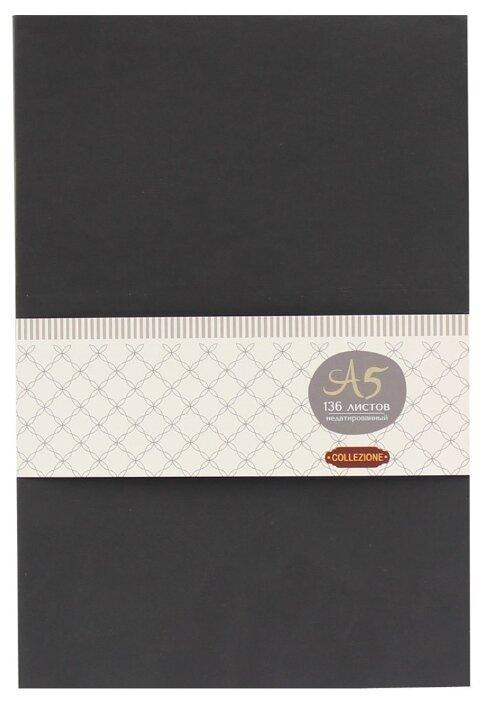 Ежедневник Collezione Колор-1 недатированный, искусственная кожа, А5, 136 листов, черный/красный срез
