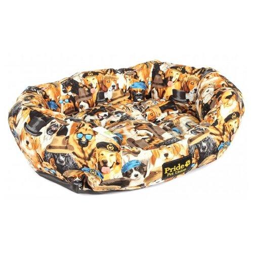 Лежак для собак PRIDE Породы 60х50х23 см бежевый/коричневый/черный