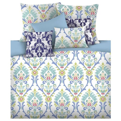 цена Постельное белье 2-спальное Mona Liza Safa 50х70 см, сатин голубой/белый онлайн в 2017 году