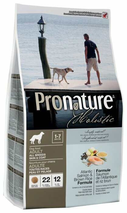 Корм для собак ProNature Holistic для здоровья кожи и шерсти, лосось с коричневым рисом 13.6 кг