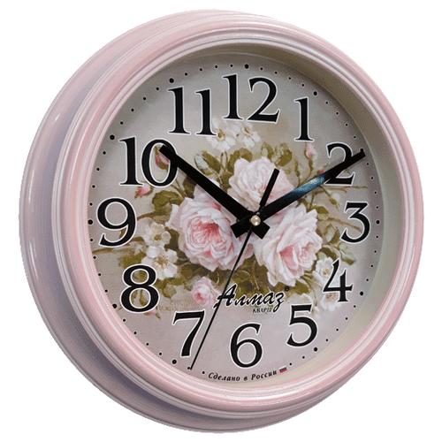 Часы настенные кварцевые Алмаз C29 розовый/серый часы настенные кварцевые алмаз e66 серый