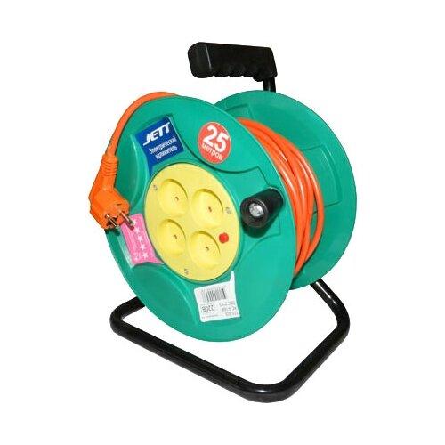 Jett Электрический удлинитель на катушке 4 гн. 25 м (ПВС 2x1,5) 1208470 brennenstuhl удлинитель на катушке garant 40 м прорезинный кабель cablepilot