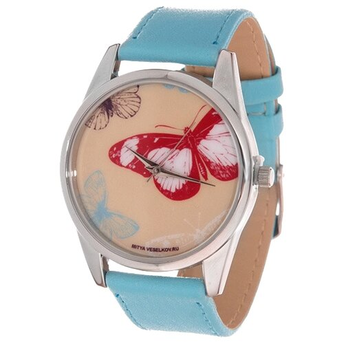цена Наручные часы Mitya Veselkov Цветные бабочки (голубой) (Color-49) онлайн в 2017 году