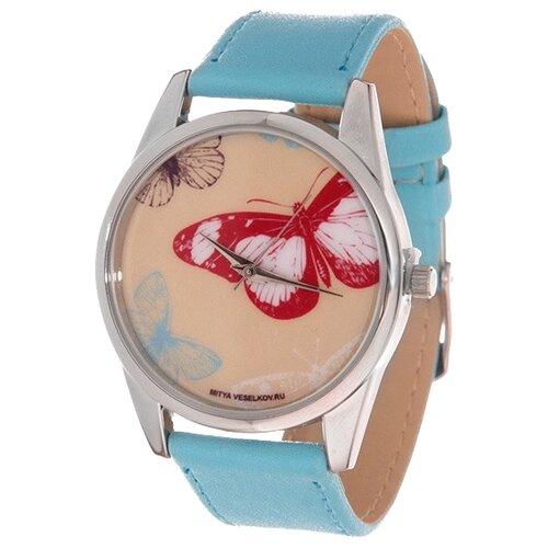 Наручные часы Mitya Veselkov Цветные бабочки (голубой) (Color-49) mitya veselkov потертый британский флаг mv 142