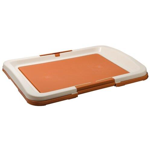 Туалет для собак V.I.Pet Японский стиль большой 63х49х6 см коричневый коричневый/молочный