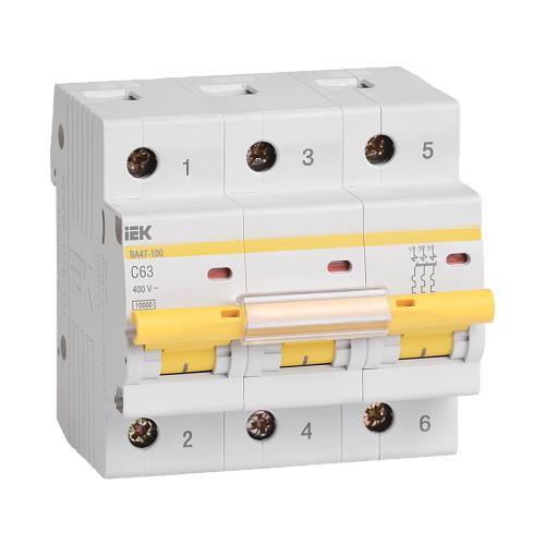 Автоматический выключатель IEK ВА 47-100 3P (C) 10kA 63 А автоматический выключатель iek ва 47 29 3p c 4 5ka 63 а