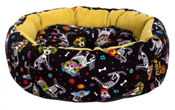 Лежак для собак PRIDE Ватрушка Гав (10011160) 45х45х12 см черный/желтый/белый