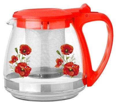 МФК Заварочный чайник стеклянный 700 мл маки