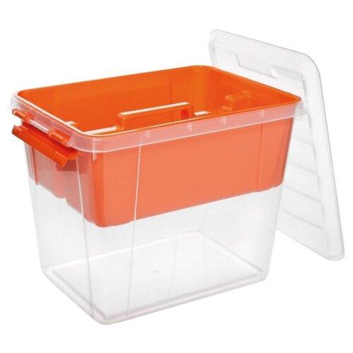 ПОЛИМЕРБЫТ Ящик с вкладышем Профи 41х29,5х31,2 см оранжевый/прозрачный