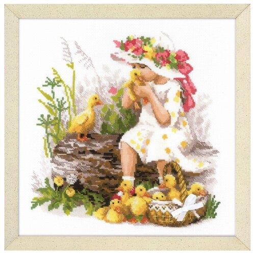 Купить Риолис Набор для вышивания крестом Девочка с утятами 30 х 30 (1781), Наборы для вышивания