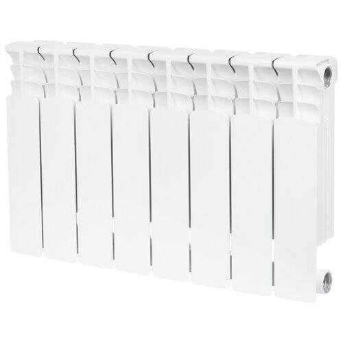 Радиатор секционный биметаллический STOUT Space 350 x8 теплоотдача 1040 Вт, 8 секций, подключение универсальное боковое RAL 9016 секционный радиатор stout space 500 биметаллический srb 0310 050009 белый 9 секций