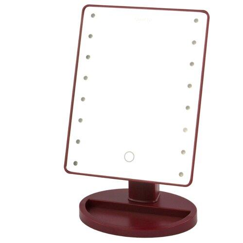Зеркало косметическое настольное Marta MT-2654 с подсветкой бордовый гранат