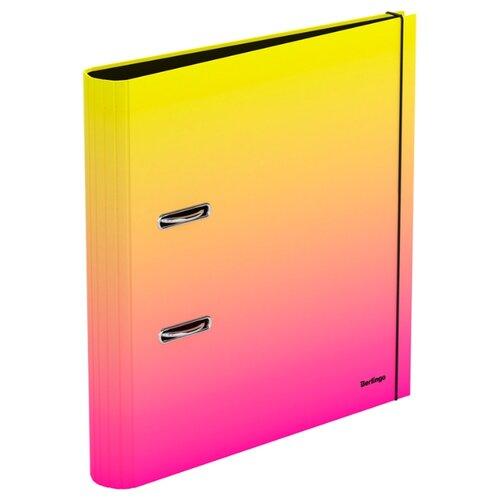 Berlingo Папка-регистратор с арочным механизмом Radiance А4, 50 мм, картон желтый/розовый папка на 2 х кольцах galaxy а4 салатовая