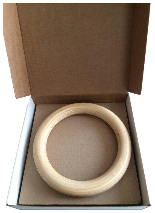 Кольцо гимнастическое Crossfit WoodRings для кроссфита 32 мм, подвесы 25 мм