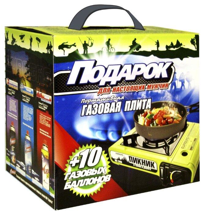 Плитка ЕВРОГАЗ MS-2000 Пикник в кейсе +10 газовых баллонов Подарочный набор