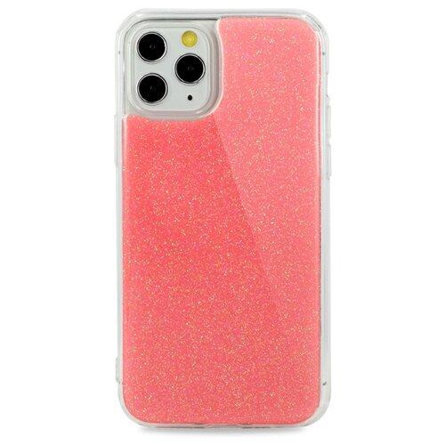 Силиконовый противоударный чехол для iPhone 11 Pro Max Гелевый с Блёстками (Розовый)
