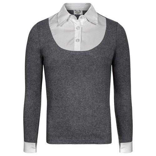цена на Блузка Free Age размер 122, темно-серый меланж/белый