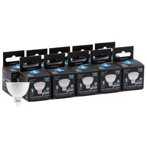 Упаковка светодиодных ламп 10 шт gauss 101505205, GU5.3, MR16, 5Вт упаковка светодиодных ламп 10 шт gauss 13626 gu10 r50 5 5вт