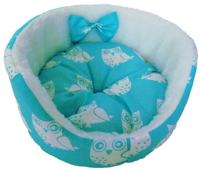 Лежак для кошек, для собак LOORI Бантик Z1927 45х45х17 см голубой
