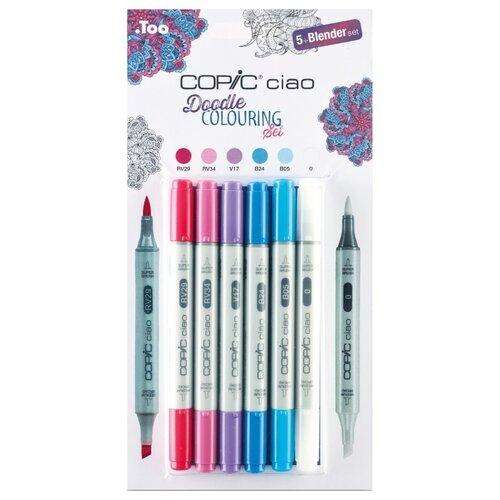 COPIC набор маркеров Ciao Doodle Colouring, 5 шт. + мультилинер, Фломастеры  - купить со скидкой