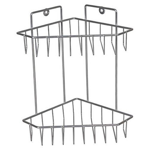 Этажерка настенная Lesnikovo угловая трапецевидная корзина 2-х ярусная ПКТ-2 хром