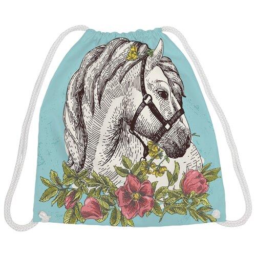 Купить JoyArty Рюкзак-мешок Лошадка (bpa_31502) голубой/белый/зеленый, Мешки для обуви и формы