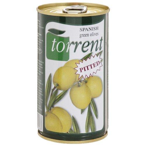 Torrent Оливки испанские без косточки зеленые, жестяная банка 350 г