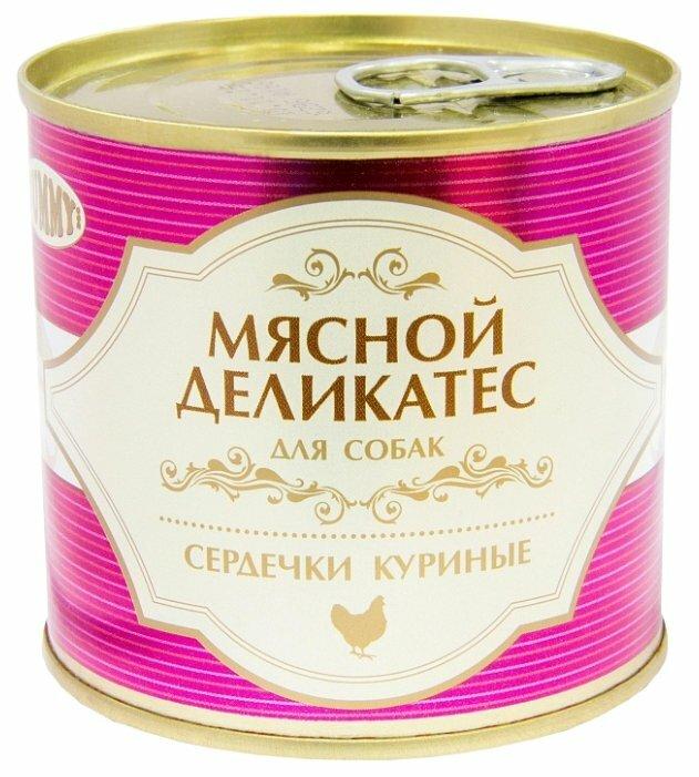 Корм для собак Yummy (0.24 кг) 1 шт. Мясной Деликатес Сердечки куриные в желе для собак консервы