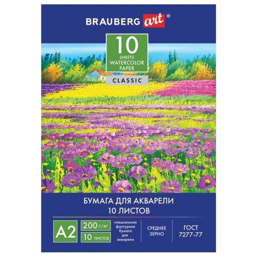 Купить Папка для акварели BRAUBERG Art Цветочный луг 59.4 х 42 см (A2), 200 г/м², 10 л., Альбомы для рисования