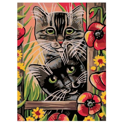 Купить Котята в саду Раскраска картина по номерам на холсте A138 30х40, Живопись по номерам, Картины по номерам и контурам