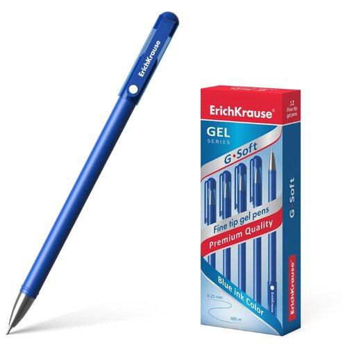 Купить ErichKrause набор гелевых ручек G-Soft 12 шт, 0.38 мм (39206/39432), синий цвет чернил, Ручки