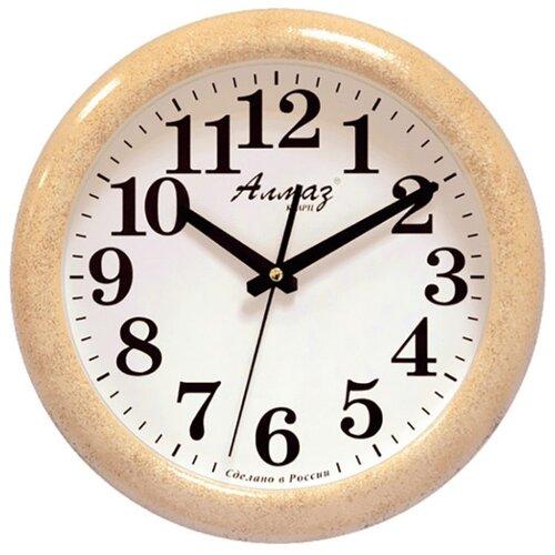 Часы настенные кварцевые Алмаз H32-H35 бежевый/белый часы настенные кварцевые алмаз c04 c10 бежевый с рисунком белый