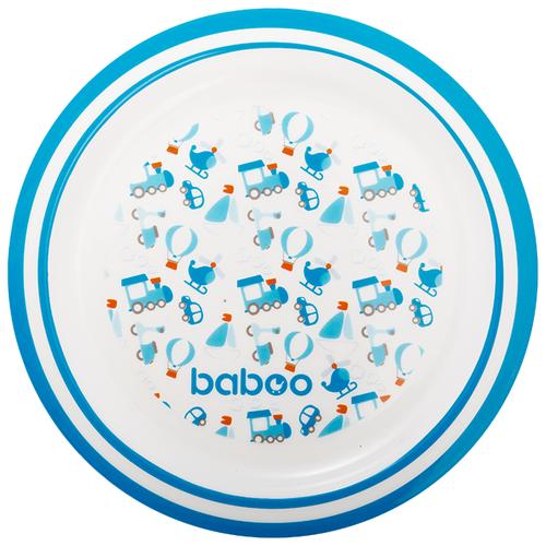Тарелка baboo Transport (9-019) белый/синий baboo набор baboo transport вилка и ложка 4 мес голубой