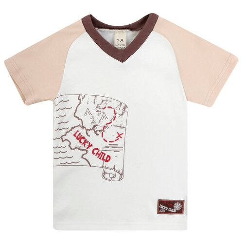 Футболка lucky child размер 20, белый/бежевыйФутболки и рубашки<br>