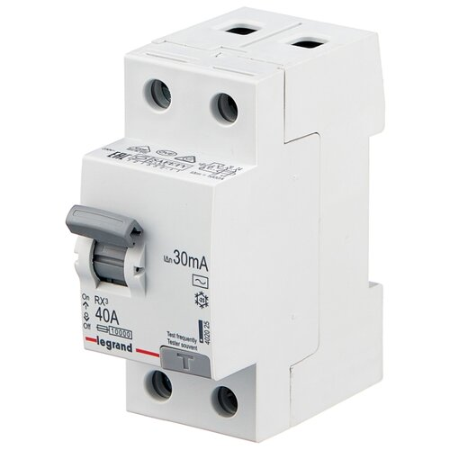 УЗО Legrand 30мА тип AC RX3 402025 2 полюса 40 А узо schneider electric dekraft 2p 25а 30ма тип ac 6ка 14054dek