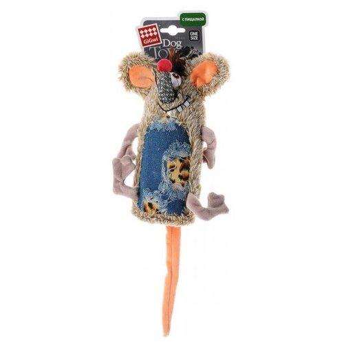Игрушка для собак GiGwi Dog Toys Мышь (75288) серый/синий/оранжевый