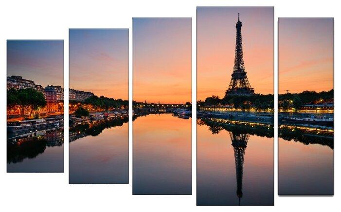 Модульная картина Картиномания Восход солнца на фоне Эйфелевой башни