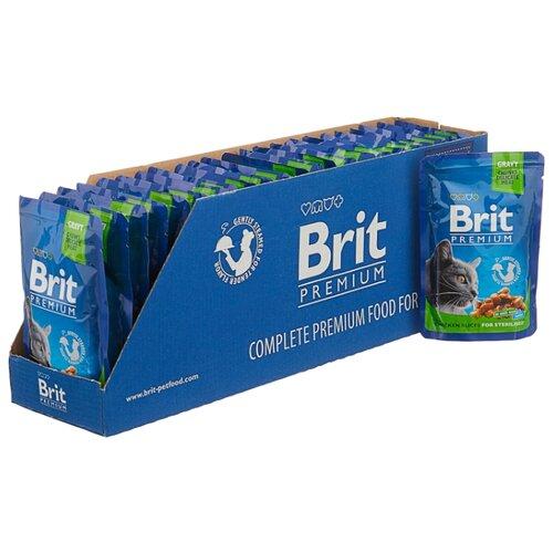 Корм для стерилизованных кошек Brit Premium с курицей 24шт. х 100 г (кусочки в соусе) корм для стерилизованных кошек мнямс с ягненком 100 г кусочки в соусе
