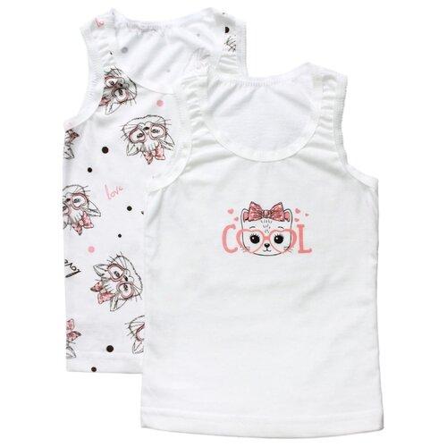 майка веселый малыш 2 шт размер 110 белый Майка Веселый Малыш 2 шт., размер 110, молочный/розовый